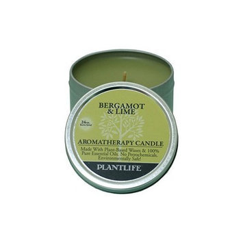 Plantlife Bergamot & Lime Aromatherapy Candle- Made with 100% pure essential oils - 3oz tin