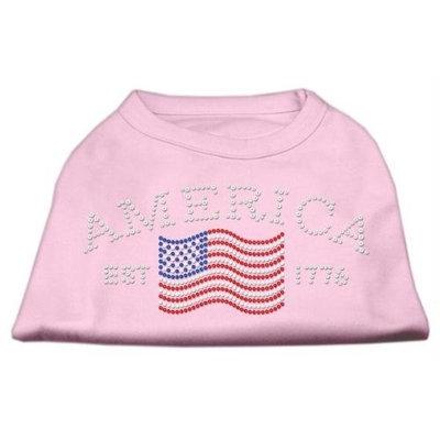 Mirage Pet Products 5221 XXLLPK Classic American Rhinestone Shirts Light Pink XXL 18