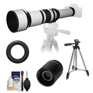 Samyang 650-1300mm f/8-16 Telephoto Lens (White) (T Mount) with 2x Teleconverter (=2600mm) + Tripod + Accessory Kit for Nikon 1 J1, J2 & V1 Digital Cameras