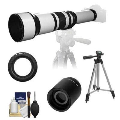 Samyang 650-1300mm f/8-16 Telephoto Lens (White) (T Mount) with 2x Teleconverter (=2600mm) + Tripod + Accessory Kit for Nikon 1 J1, J2 & V1 Digital Cameras