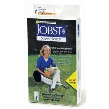 Jobst Women's Casual Knee High 8-15mmHg Ribbed Style, S, Black