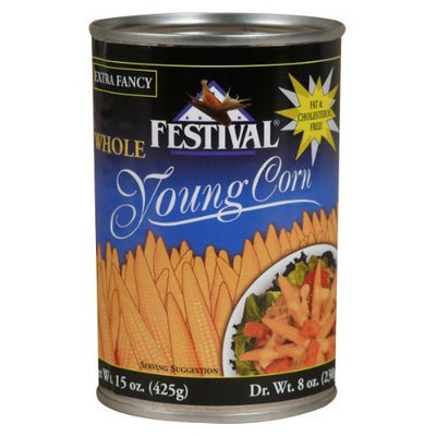 Festival Whole Baby Corn, Extra Fancy, 15-Ounce Cans (Pack of 12)