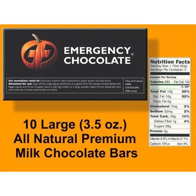 Bloomsberry Emergency Halloween Milk Chocolate - Ten 3.5 oz. Bars