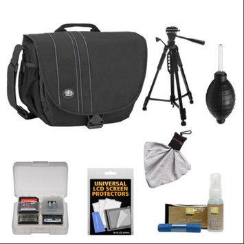 Tamrac 3445 Rally 5 Camera/Netbook/iPad Bag (Black) with Deluxe Photo/Video Tripod + Nikon Cleaning Kit for Nikon D3100, D3200, D5100, D5200, D7000, D7100, D600, D800 Digital SLR Cameras