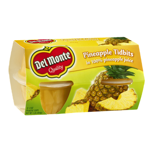 Del Monte Pineapple Tidbits in 100% Pineapple Juice - 4 CT