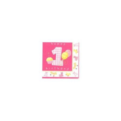 Party Destination Girl's Little 1 Birthday Lunch Napkins - Count (6)