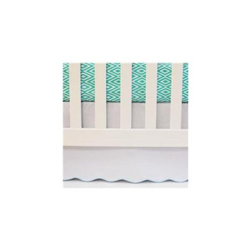 Oliver B OBSS104 Scalloped Crib Skirt with Turquoise Trim