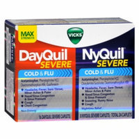 Vicks Dayquil Nyquil Severe Cold & Flu Relief Combo Pack, Caplets, 24 ea