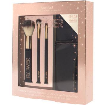 FLOWER Beauty FLOWER Beauty Brush Up! Face, Eye & Lip Brush Set with Brush Roll, 4 pc (Rose Gold)
