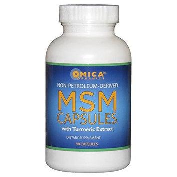 Omica Organics Non-Petroleum Derived MSM Capsules with Turmeric (90 Capsules)