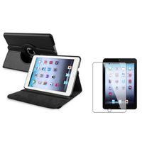 Insten iPad Mini 3/2/1 Case, by INSTEN Black Case Rotating Leather Case Cover+2pcs Protector for Apple iPad Mini 1 2 3