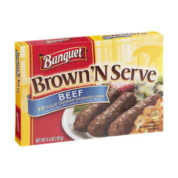 Banquet Brown 'N Serve Fully Cooked Beef Sausage Links - 10 CT