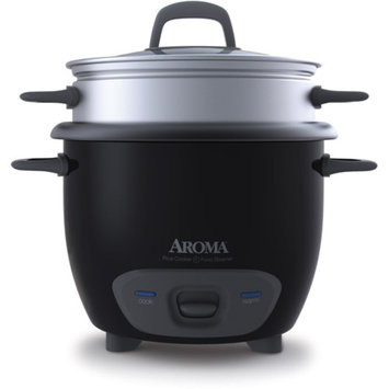 Aroma 6-Cup Pot Style Rice Cooker in Black