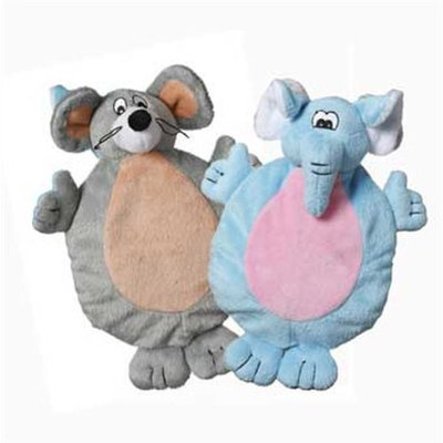 Multi Pet Multipet 2-Faced Crinkle/Plush Dog Toys with Elephant/Mouse Faces