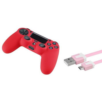 Insten INSTEN Pink 3FT Micro USB Noodle Charger Cable+Red Skin Case for Sony PS4 controller