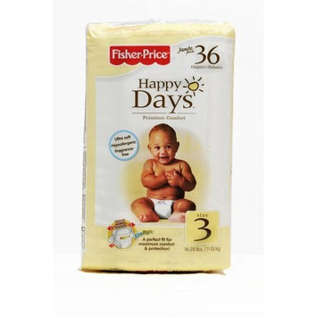 Fisher-Price Fisher Price Happy Days Baby Diapers Jumbo Pack, Size 3, 36 Count (Pack of 6)
