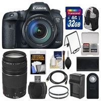 Canon EOS 7D Mark II GPS Digital SLR Camera & EF-S 18-135mm IS STM with 75-300mm III Lens + 32GB Card + Backpack + Battery/Charger + Tripod + Kit
