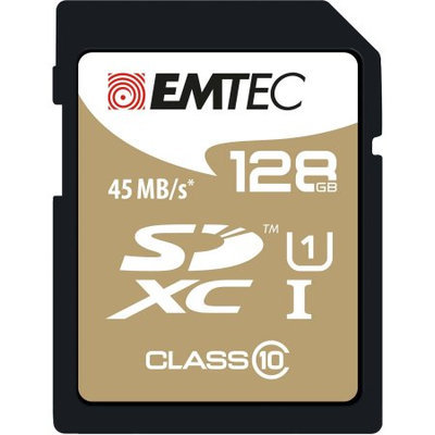 Dexxxon Digital Storage Emtec - 128GB Sdxc Class 10 Memory Card - Black/gold