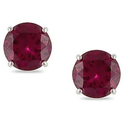 Amour 2 Carat Total Gem Weight Created Ruby Stud Earrings 10k, Red and White Gold, 1 ea