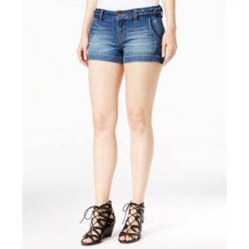 Miss Me Braided-Trim Denim Shorts