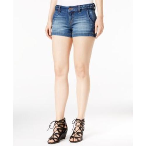 Miss Me Braided-Trim Denim Shorts