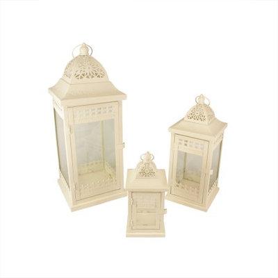 Christmas Central Set of 3 Cream Garden Getaway Ornate Pillar Candle Holder Lanterns 20.5