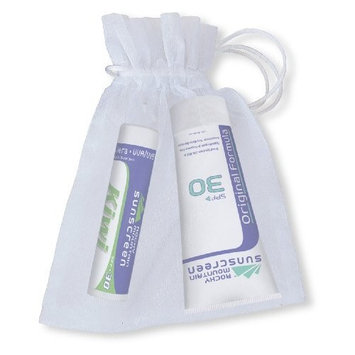 Rocky Mountain Sunscreen Rocky Mountain White Organza Gift Bag with 1 Lip Balm Kiwi SPF 30 ( 4.9 grams) and 1 Tube Sunscreen SPF 30 (1-Ounce), 25-Count Organza Bags