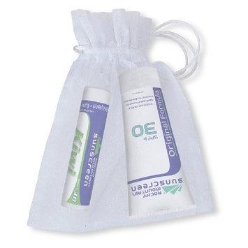 Rocky Mountain Sunscreen Rocky Mountain White Organza Gift Bag with 1 Lip Balm Kiwi SPF 30 ( 4.9 grams) and 1 Tube Sunscreen SPF 30 (1-Ounce), 25-Count Organza Bags