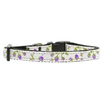 Mirage Pet Products 125020 XSPR Roses Nylon Ribbon Collar Purple XSmall