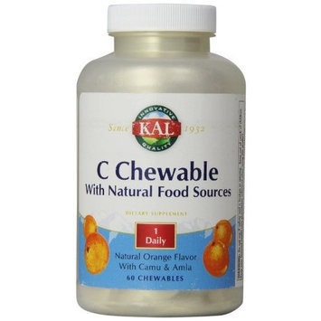 KAL Vitamin C Chewable with natural Food Sources Orange Tablets, 500 mg, 60 Count