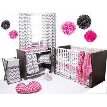 Bacati Ikat 6-Piece Crib Bedding Set, Pink/Grey