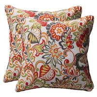 Pillow Perfect Outdoor 2-Piece Square Toss Pillow Set Green/Off-White/Red Floral -