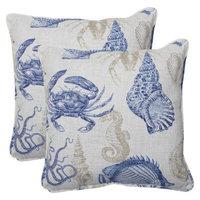 Pillow Perfect Outdoor 2-Piece Square Throw Pillow Set - Blue/Tan Blue/Tan Sealife