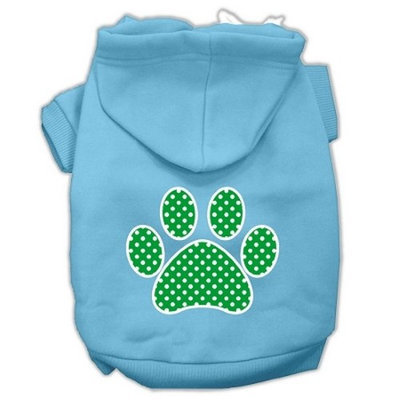 Mirage Pet Products Green Swiss Dot Paw Screen Print Pet Hoodies Baby Blue Size Med (12)