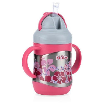 Nuby™ Active Sipeez™ 2 Handle No-Spill Stainless Steel 360 Degree Flip-it Clik-it - Pink