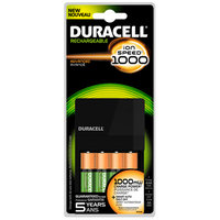 Duracell Value Charger, 4 Pre-Charged Rechargeable AA NiMH Batteries