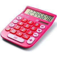 Avalon 8 Digit Dual Powered Desktop Calculator, LCD Display, Pink [Pink]