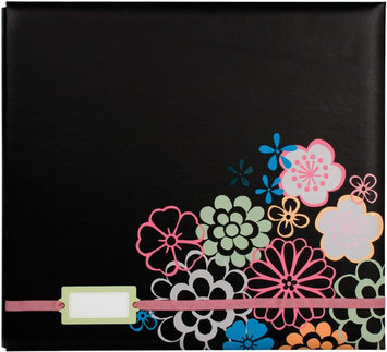 Colorbok Postbound Album With Label Holder 12X12-Black Floral