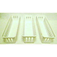 Mainstays Slim Plastic Storage Trays Baskets in White- Set of 3