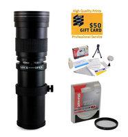 Opteka 420-800mm f/8.3 HD Telephoto Zoom Lens with UV Filter for Pentax 645Z, 645D, K-S1, K-500, K-50, K-30, K5 IIs, K-7, K-5, K-3, K-2, K-X, K20D, K100D, K110D