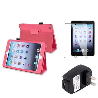 Insten iPad Mini 3/2/1 Case, by INSTEN Hot Pink PU Leather Flip Case Stand Cover+Protector for iPad Mini 3 2 1