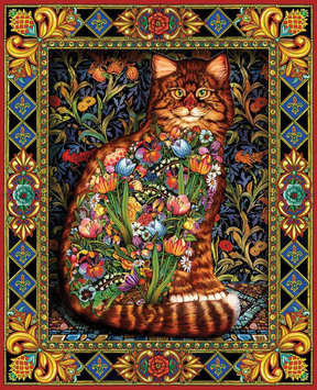 White Mountain Puzzles Tapestry Cat (1000 pc)