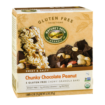Nature's Path Organic Gluten Free Selections Chunky Chocolate Peanut Chewy Granola Bars - 5 CT