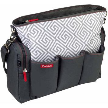 iPack Baby Greek Key Diaper Bag, Charcoal