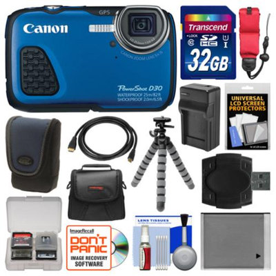 Canon PowerShot D30 Shock & Waterproof GPS Digital Camera with 32GB Card + Case + Battery/Charger + Flex Tripod + Float Strap + Kit
