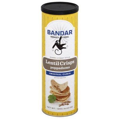 Bandar Monkey Foods Original Cumin Lentil Crisps Poppadums, 4.23 oz, (Pack of 12)