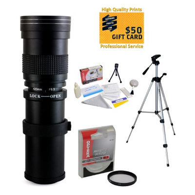 Opteka 420-800mm f/8.3 HD Telephoto Zoom Lens with UV Filter and 54