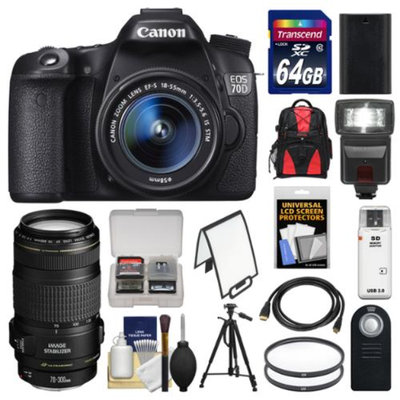 Canon EOS 70D Digital SLR Camera & EF-S 18-55mm & 70-300mm IS Lens + 64GB Card + Backpack + LED Flash + Battery + Tripod Kit
