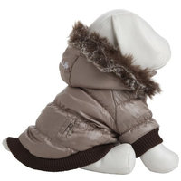 Pet Life Metallic Dog Parka with Removable Hood in Gray