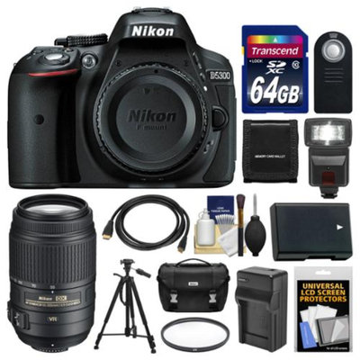 Nikon D5300 Digital SLR Camera Body (Black) with 55-300mm VR Zoom Lens + 64GB Card + Case + Flash + Battery & Charger + Tripod Kit